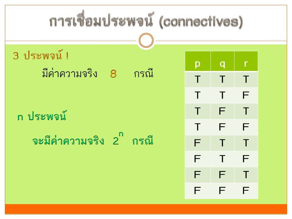 การเชื่อมประพจน์ (connectives)