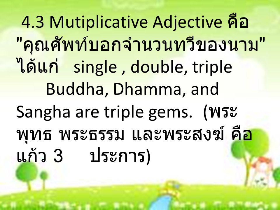 4.3 Mutiplicative Adjective คือ คุณศัพท์บอกจำนวนทวีของนาม ได้แก่ single , double, triple