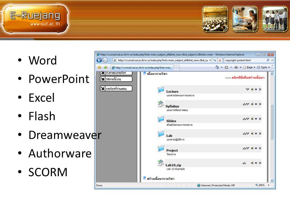 Word PowerPoint Excel Flash Dreamweaver Authorware SCORM