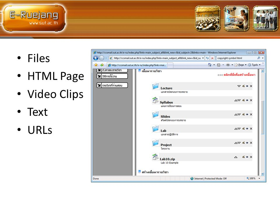 Files HTML Page Video Clips Text URLs