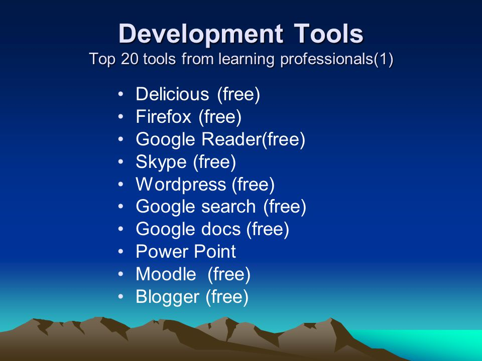 Development Tools Top 20 tools from learning professionals(1)