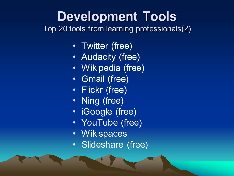 Development Tools Top 20 tools from learning professionals(2)