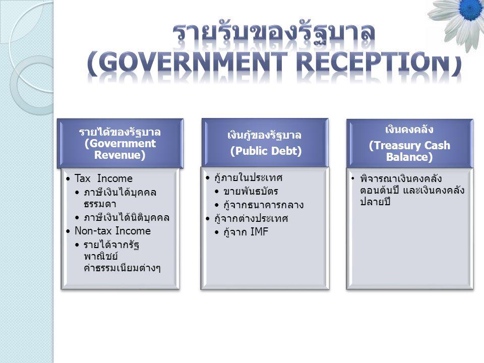 รายรับของรัฐบาล (Government Reception)
