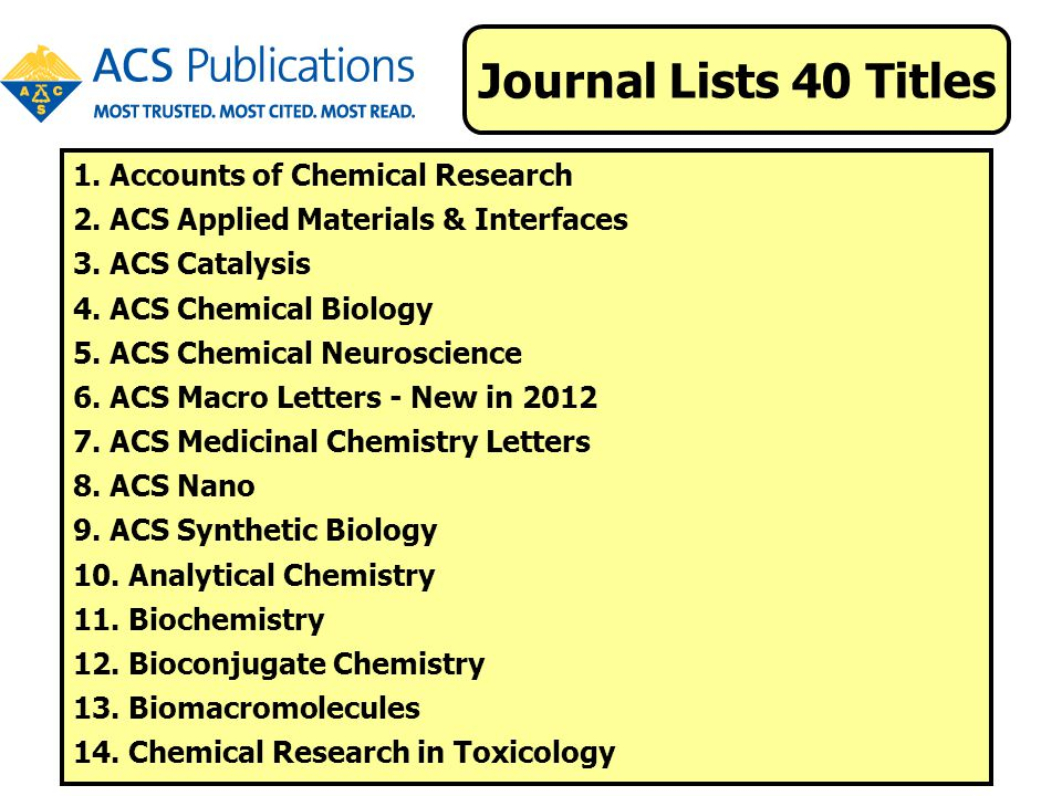 Journal Lists 40 Titles 1. Accounts of Chemical Research
