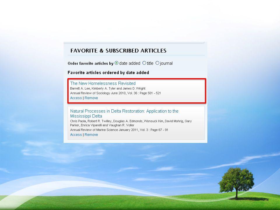 บทความที่เลือกไว้ก็จะไปอยู่ในเมนู Favorite & Subscribed articles ดังรูป