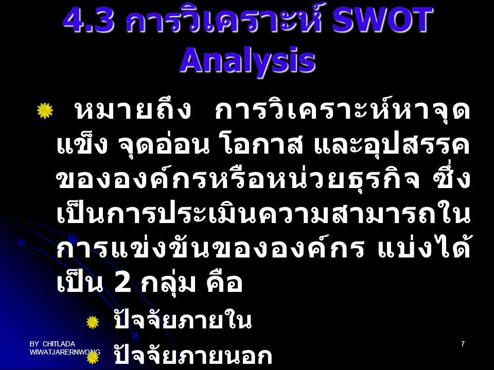 4.3 การวิเคราะห์ SWOT Analysis