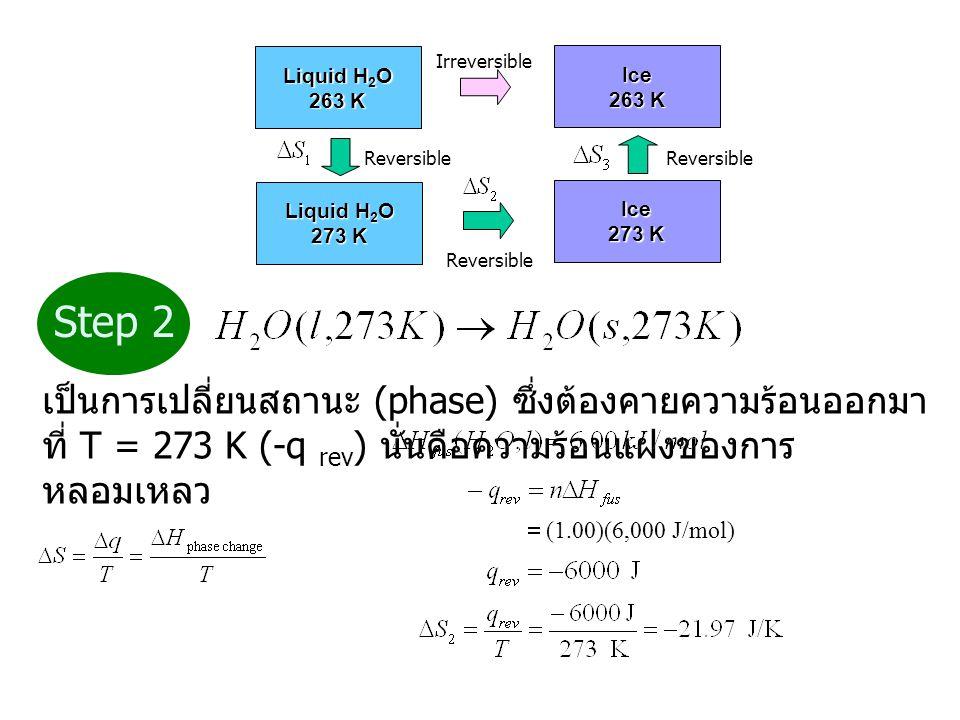Liquid H2O 263 K. Ice. 273 K. Reversible. Irreversible. Step 2.