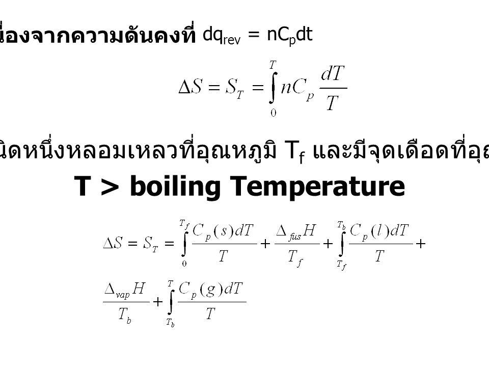 เนื่องจากความดันคงที่ T > boiling Temperature