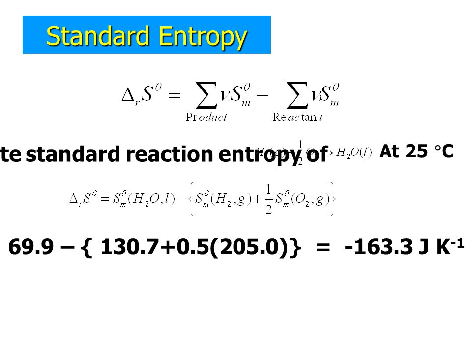 Calculate standard reaction entropy of