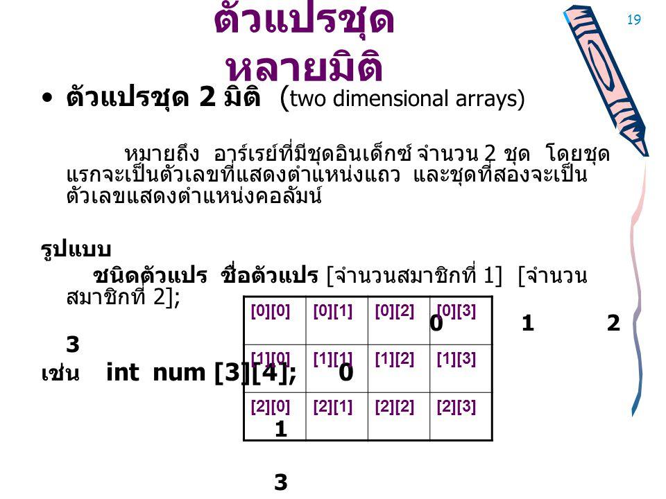 ตัวแปรชุดหลายมิติ ตัวแปรชุด 2 มิติ (two dimensional arrays)