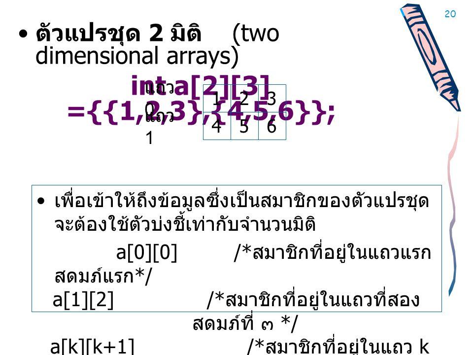 ตัวแปรชุด 2 มิติ (two dimensional arrays)