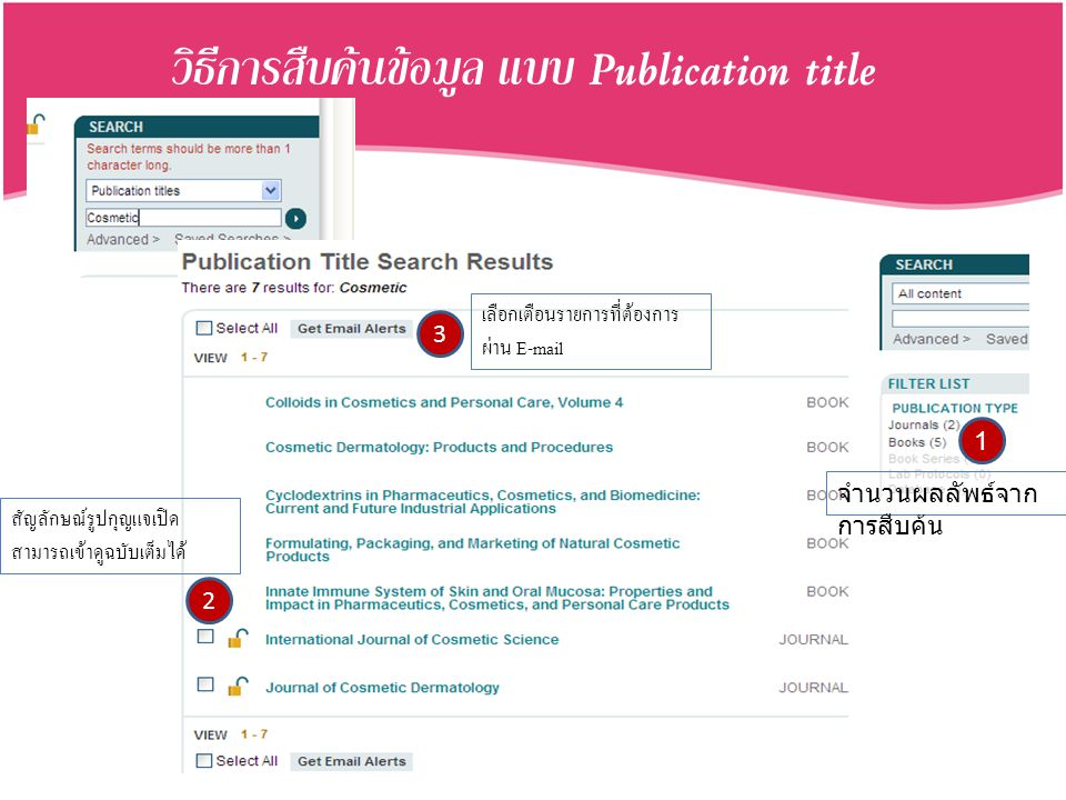 วิธีการสืบค้นข้อมูล แบบ Publication title