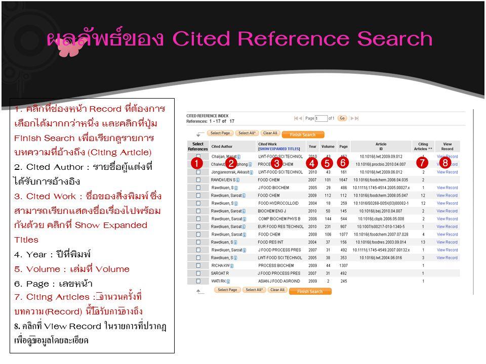 ผลลัพธ์ของ Cited Reference Search