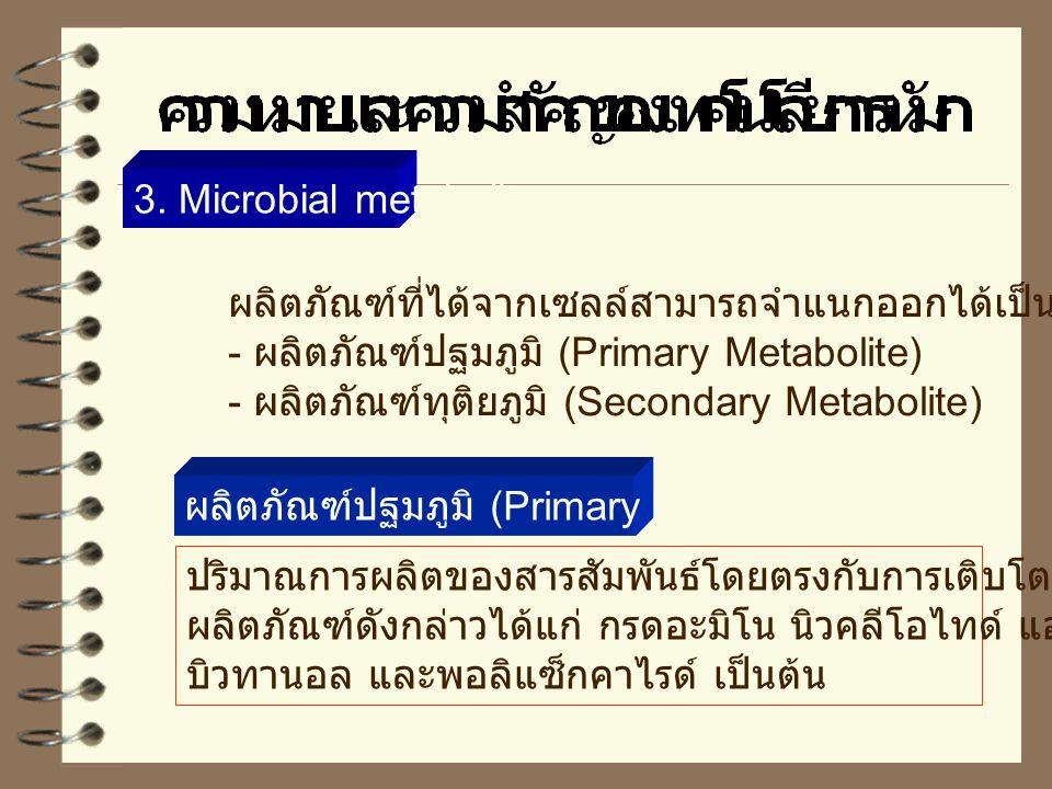 3. Microbial metabolite ผลิตภัณฑ์ที่ได้จากเซลล์สามารถจำแนกออกได้เป็น 2 พวก. - ผลิตภัณฑ์ปฐมภูมิ (Primary Metabolite)