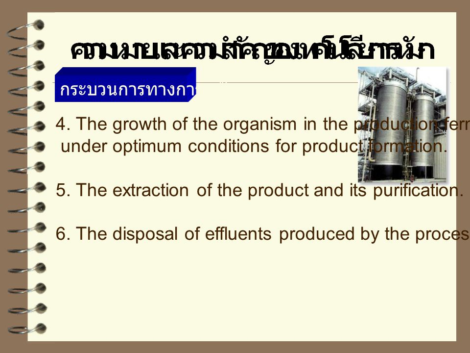 กระบวนการทางการหมัก 4. The growth of the organism in the production fermenter. under optimum conditions for product formation.