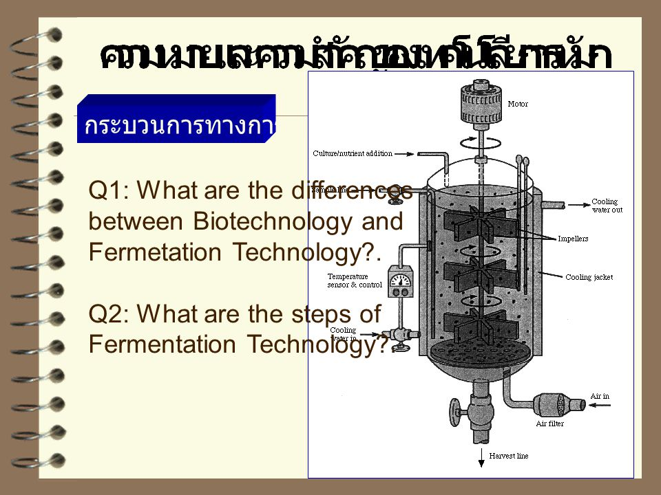 กระบวนการทางการหมัก Q1: What are the differences. between Biotechnology and. Fermetation Technology .