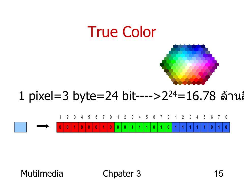 True Color 1 pixel=3 byte=24 bit---->224=16.78 ล้านสี Mutilmedia