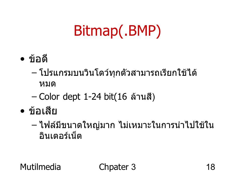 Bitmap(.BMP) ข้อดี ข้อเสีย โปรแกรมบนวินโดว์ทุกตัวสามารถเรียกใช้ได้หมด