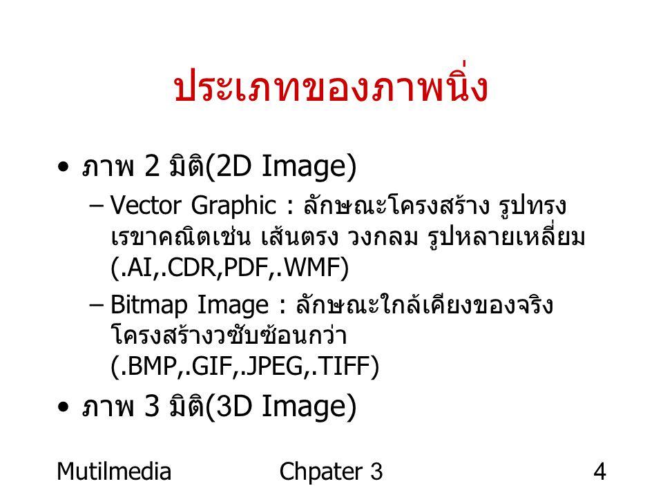ประเภทของภาพนิ่ง ภาพ 2 มิติ(2D Image) ภาพ 3 มิติ(3D Image)
