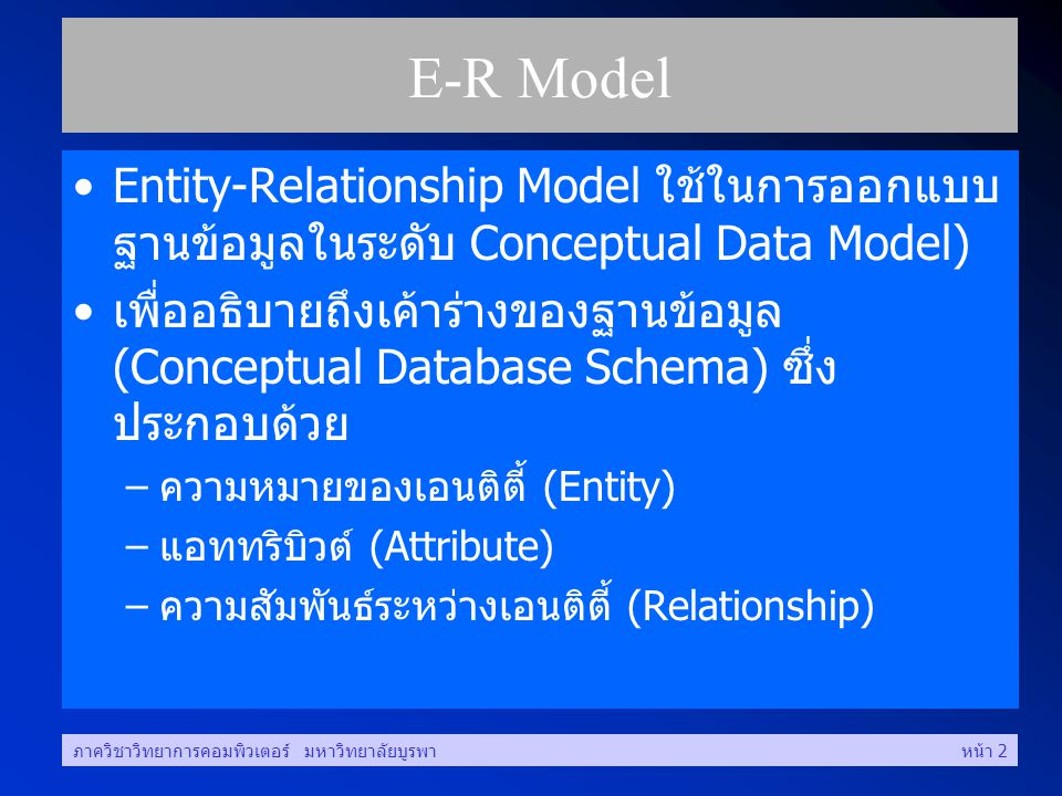 E-R Model Entity-Relationship Model ใช้ในการออกแบบฐานข้อมูลในระดับ Conceptual Data Model)