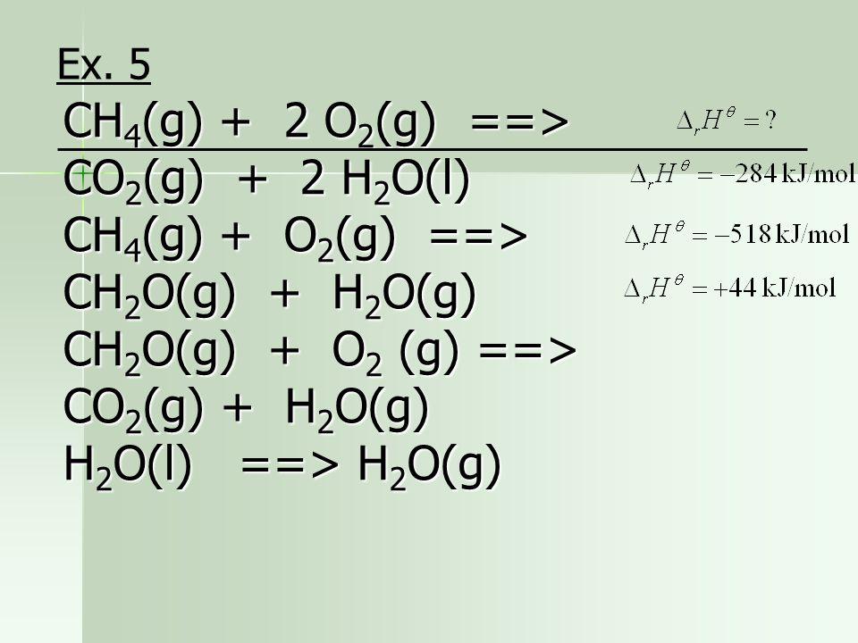 CH4(g) + 2 O2(g) ==> CO2(g) + 2 H2O(l)