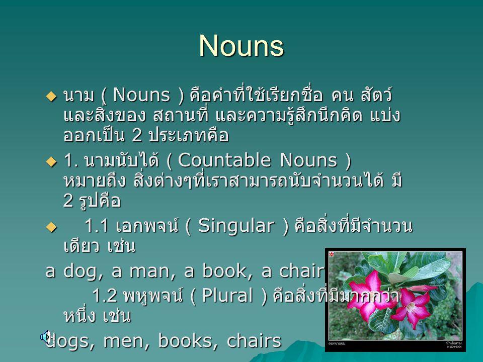 Nouns นาม ( Nouns ) คือคำที่ใช้เรียกชื่อ คน สัตว์ และสิ่งของ สถานที่ และความรู้สึกนึกคิด แบ่งออกเป็น 2 ประเภทคือ.