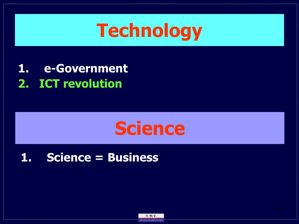 Technology e-Government 2. ICT revolution Science Science = Business