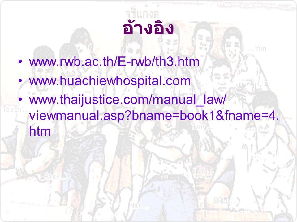 อ้างอิง www.rwb.ac.th/E-rwb/th3.htm www.huachiewhospital.com
