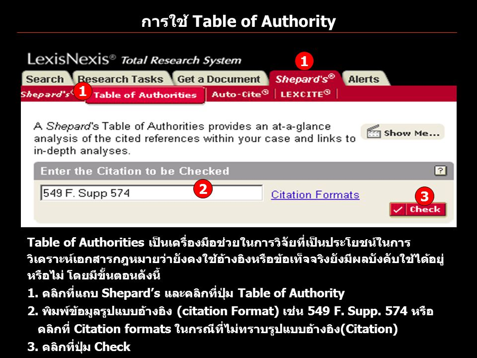การใช้ Table of Authority