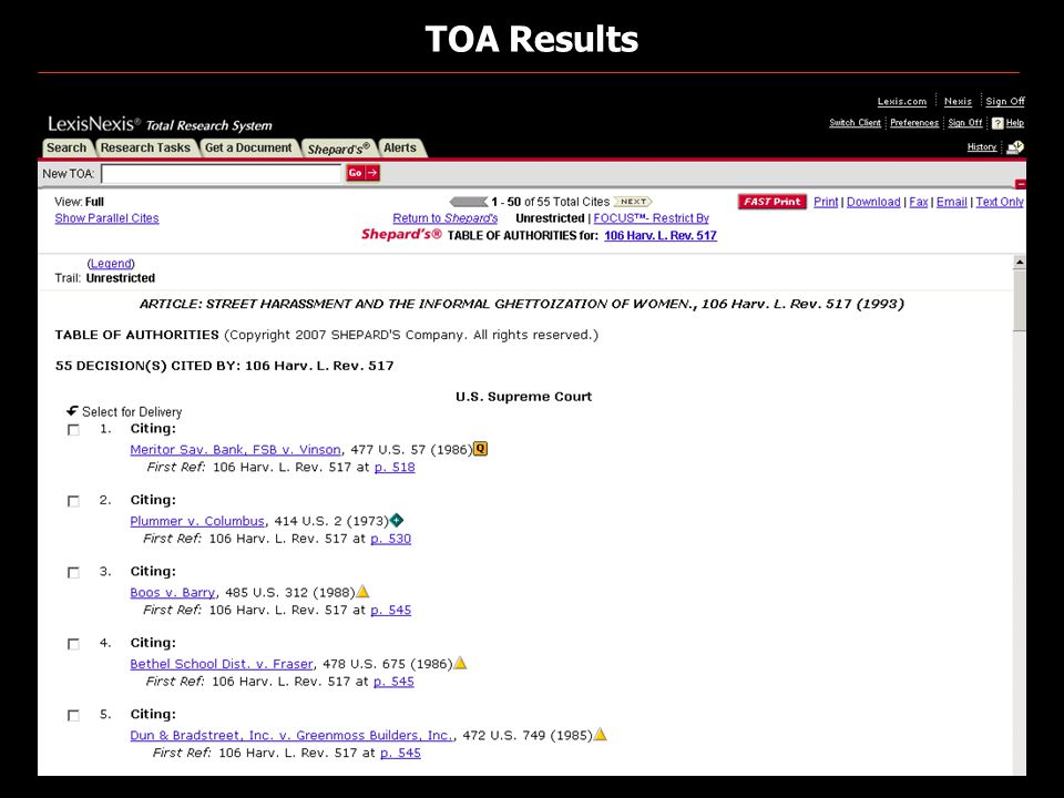 TOA Results