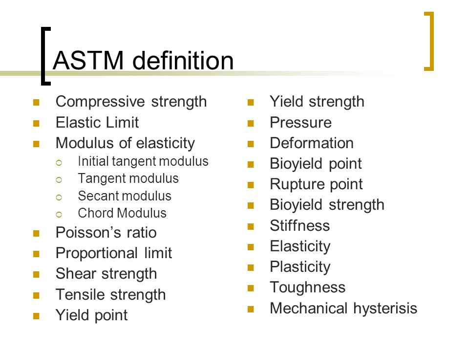ASTM definition Compressive strength Elastic Limit