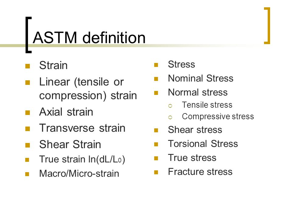 ASTM definition Strain Linear (tensile or compression) strain