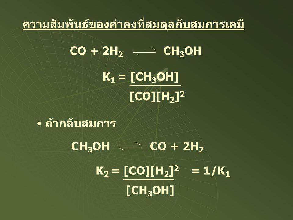 ความสัมพันธ์ของค่าคงที่สมดุลกับสมการเคมี