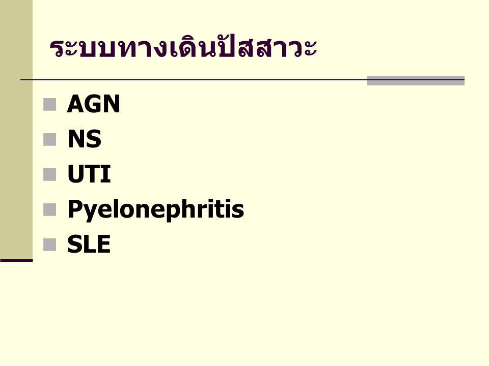 ระบบทางเดินปัสสาวะ AGN NS UTI Pyelonephritis SLE