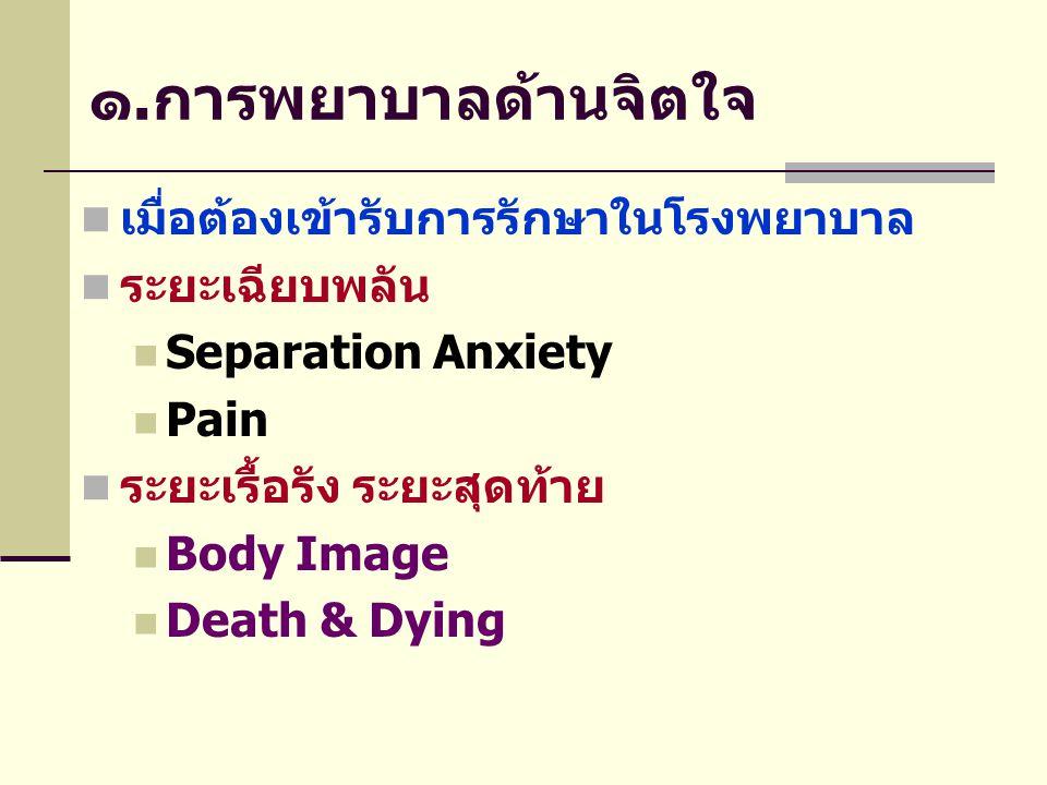 ๑.การพยาบาลด้านจิตใจ เมื่อต้องเข้ารับการรักษาในโรงพยาบาล ระยะเฉียบพลัน