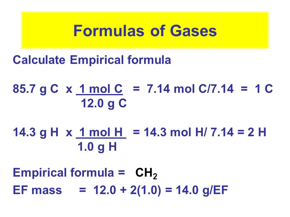 Formulas of Gases Calculate Empirical formula