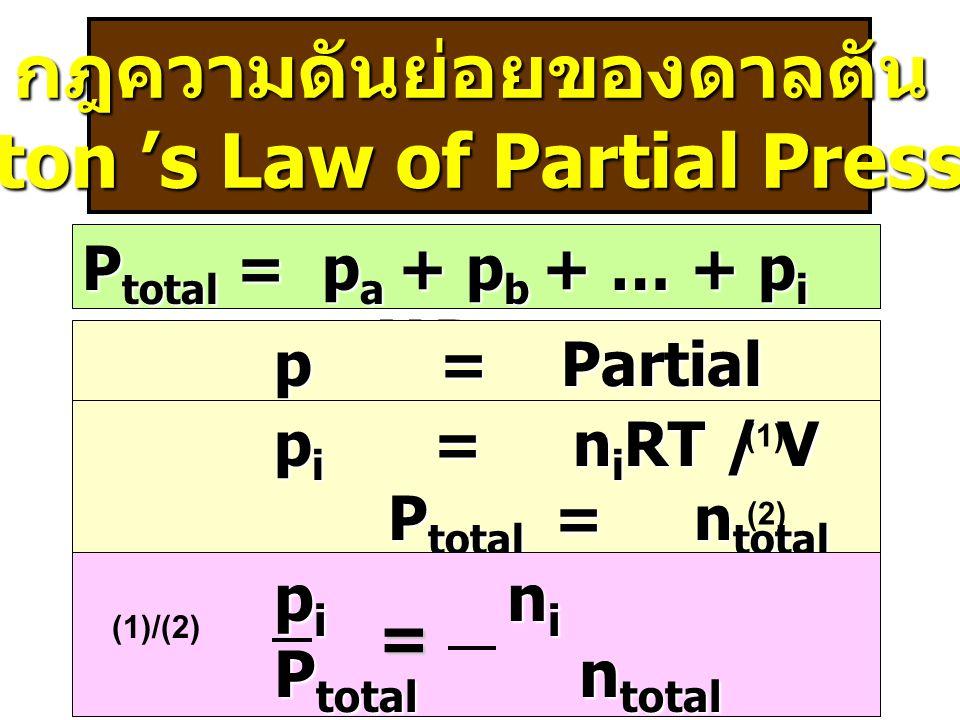 กฎความดันย่อยของดาลตัน (Dalton 's Law of Partial Pressure)
