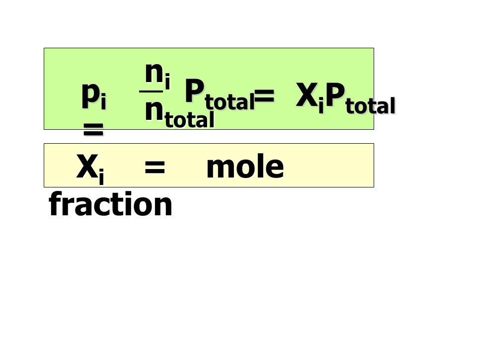 ni ntotal pi = Ptotal = XiPtotal Xi = mole fraction