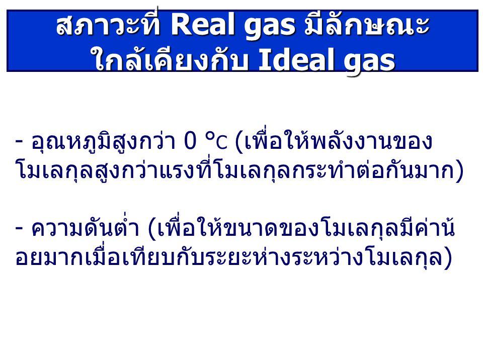 สภาวะที่ Real gas มีลักษณะใกล้เคียงกับ Ideal gas