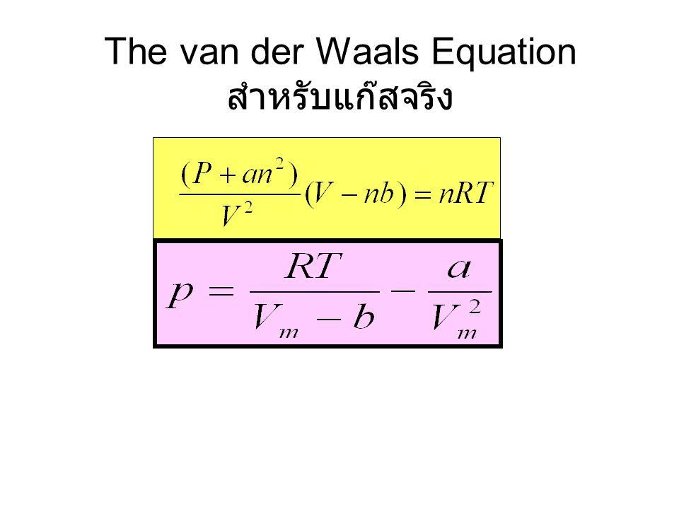 The van der Waals Equation สำหรับแก๊สจริง