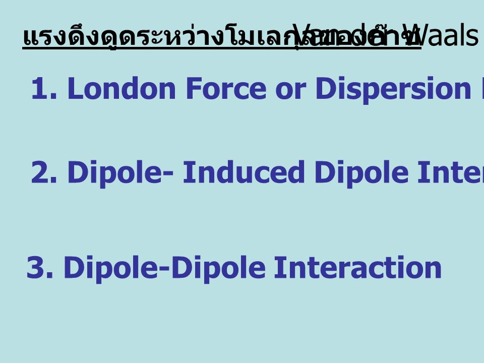 1. London Force or Dispersion Force