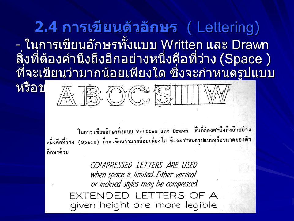 2.4 การเขียนตัวอักษร ( Lettering)