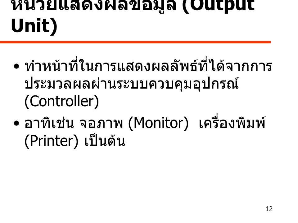 หน่วยแสดงผลข้อมูล (Output Unit)