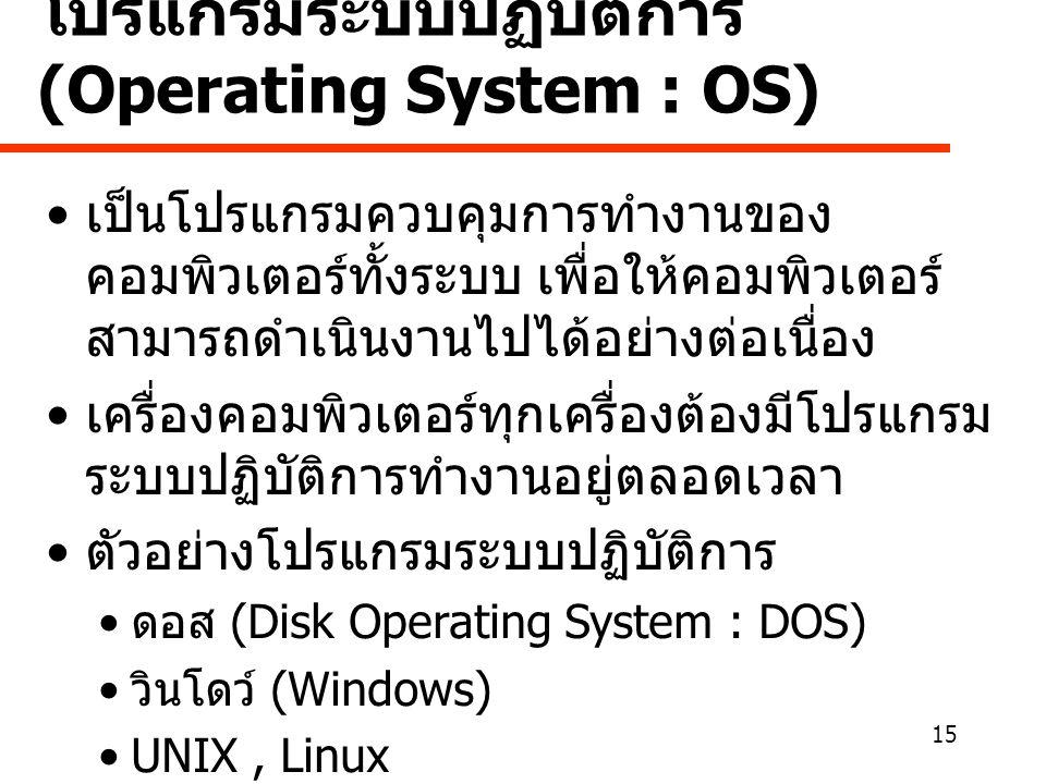 โปรแกรมระบบปฏิบัติการ (Operating System : OS)