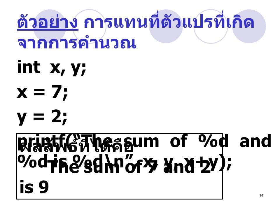 ตัวอย่าง การแทนที่ตัวแปรที่เกิดจากการคำนวณ
