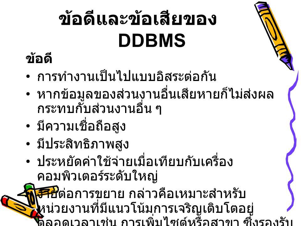 ข้อดีและข้อเสียของ DDBMS