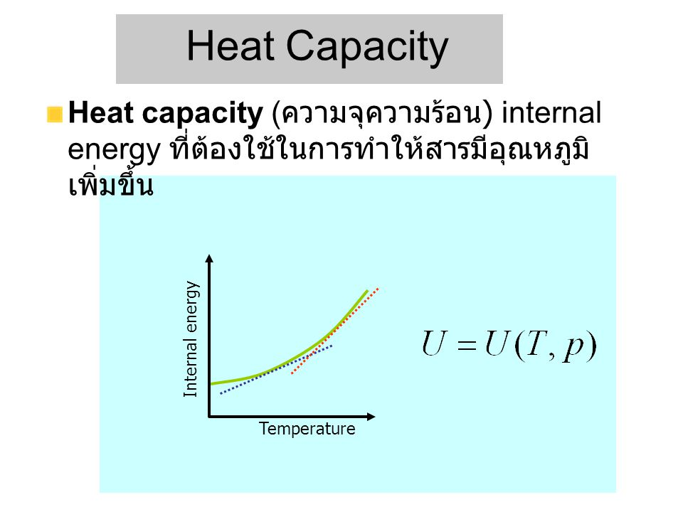 Heat Capacity Heat capacity (ความจุความร้อน) internal energy ที่ต้องใช้ในการทำให้สารมีอุณหภูมิเพิ่มขึ้น.