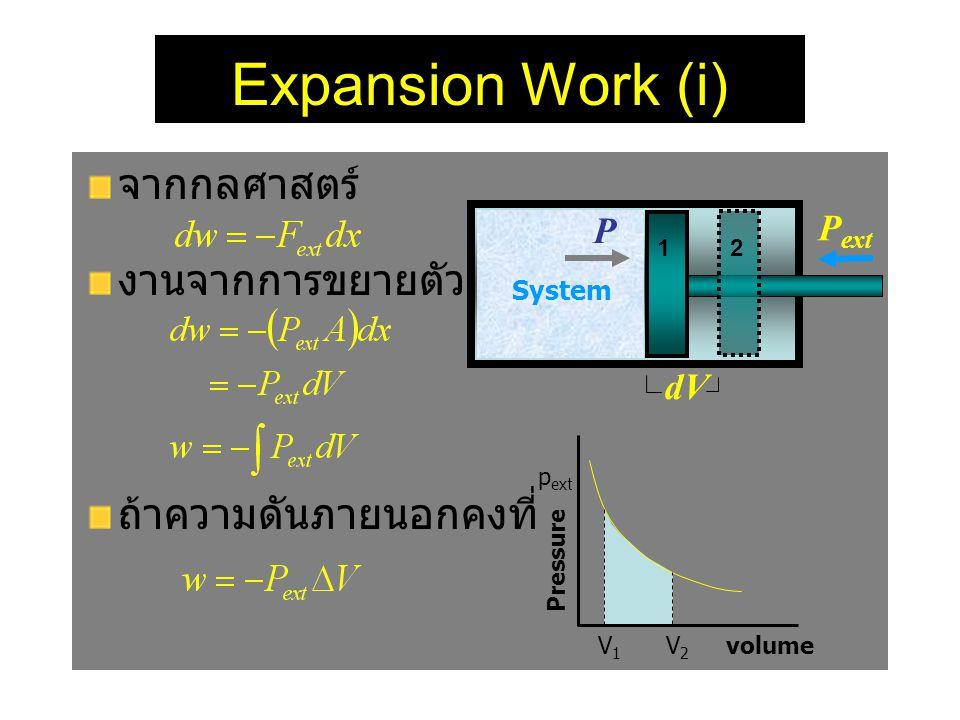 Expansion Work (i) จากกลศาสตร์ งานจากการขยายตัว ถ้าความดันภายนอกคงที่