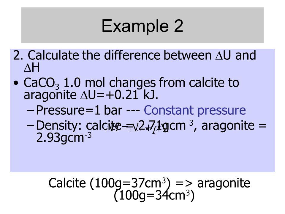 Calcite (100g=37cm3) => aragonite (100g=34cm3)