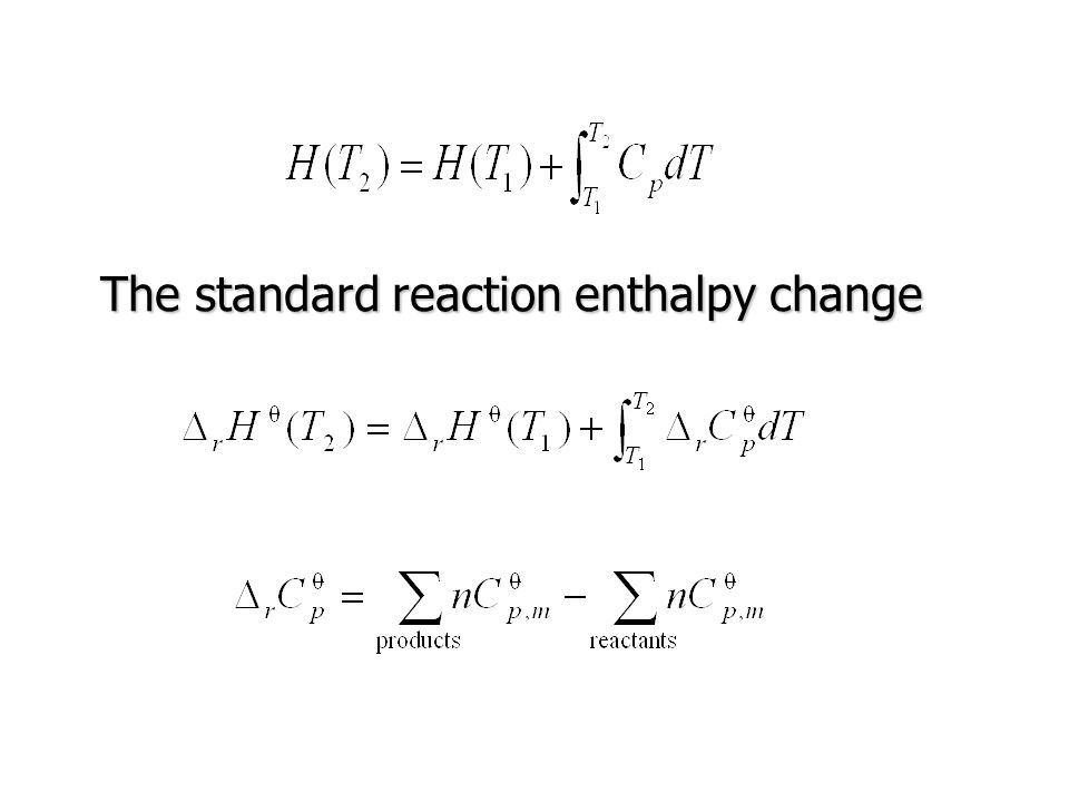 The standard reaction enthalpy change